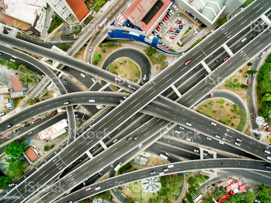 Aerial view of Mexico City highways stock photo