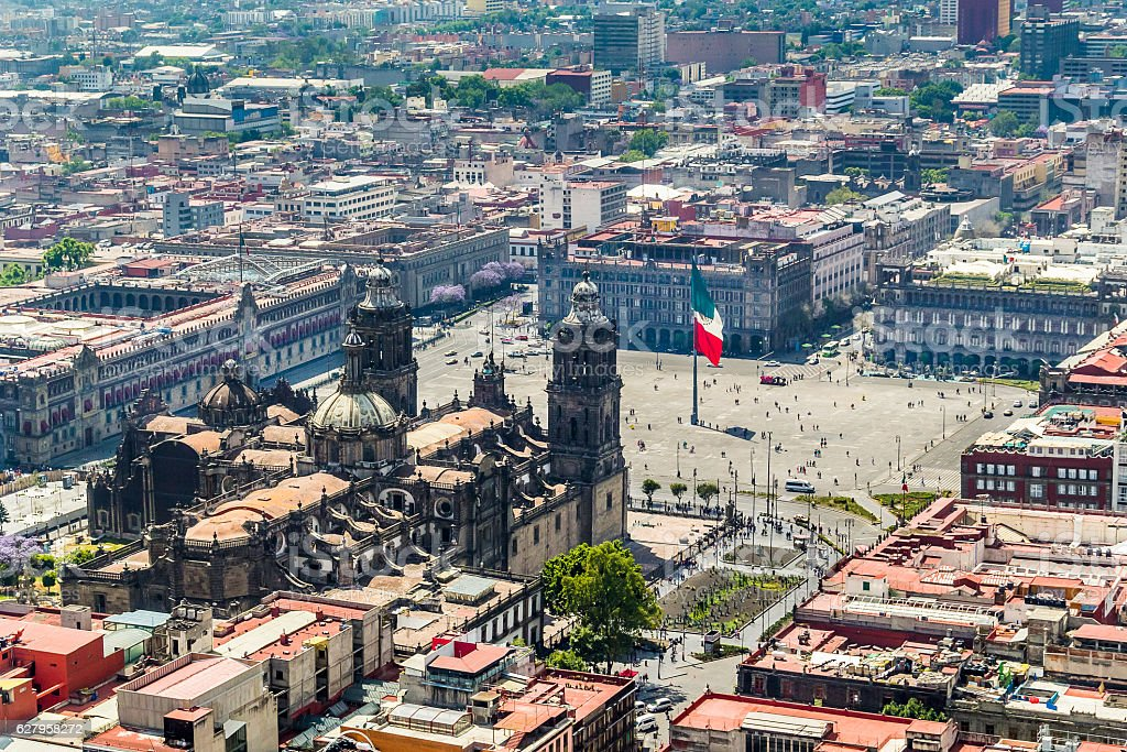 aerial view of mexico city main square and cathedral stock photo