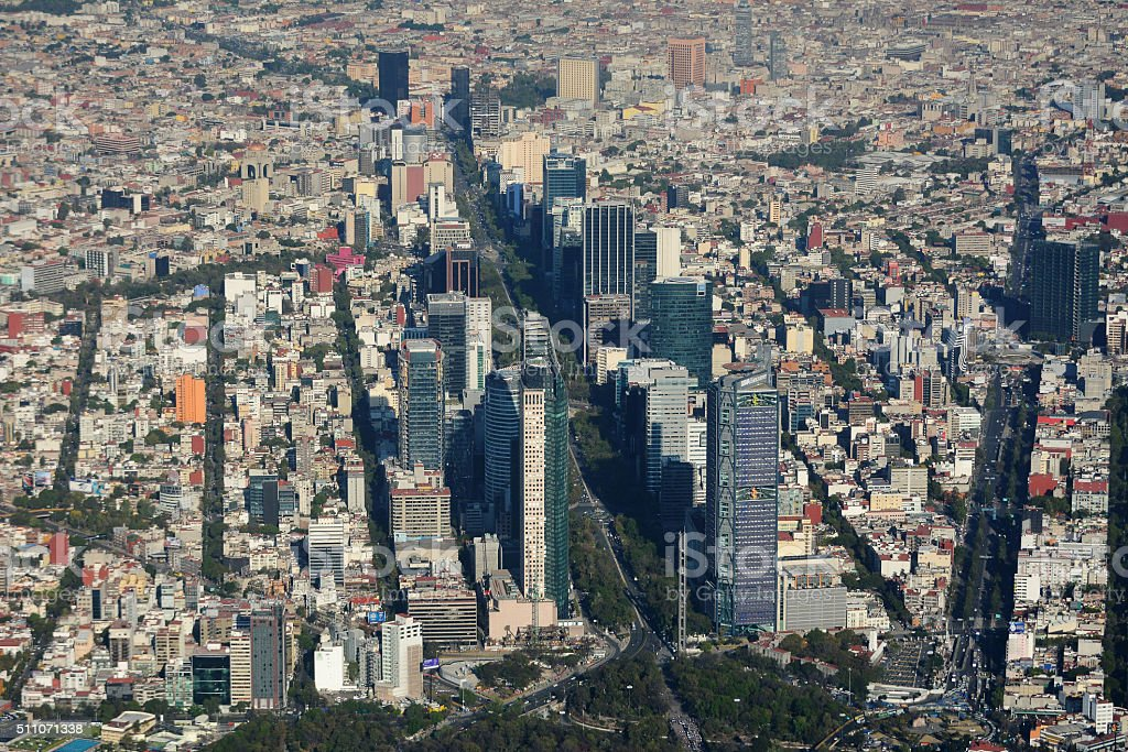 Aerial view of Mexico City. stock photo