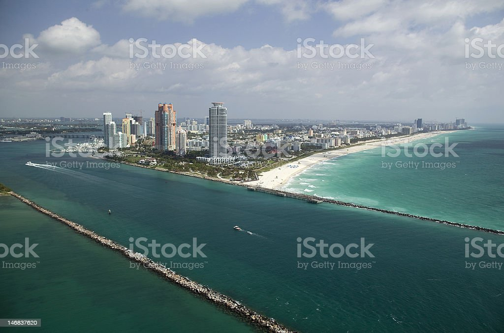 Aerial view of Miami Beach and Government Cut royalty-free stock photo
