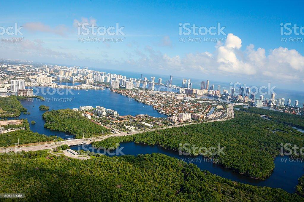 Aerial view of Miami Florida stock photo