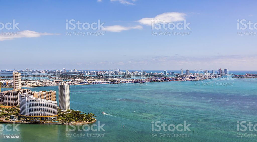 Aerial View of Miami Harbor royalty-free stock photo