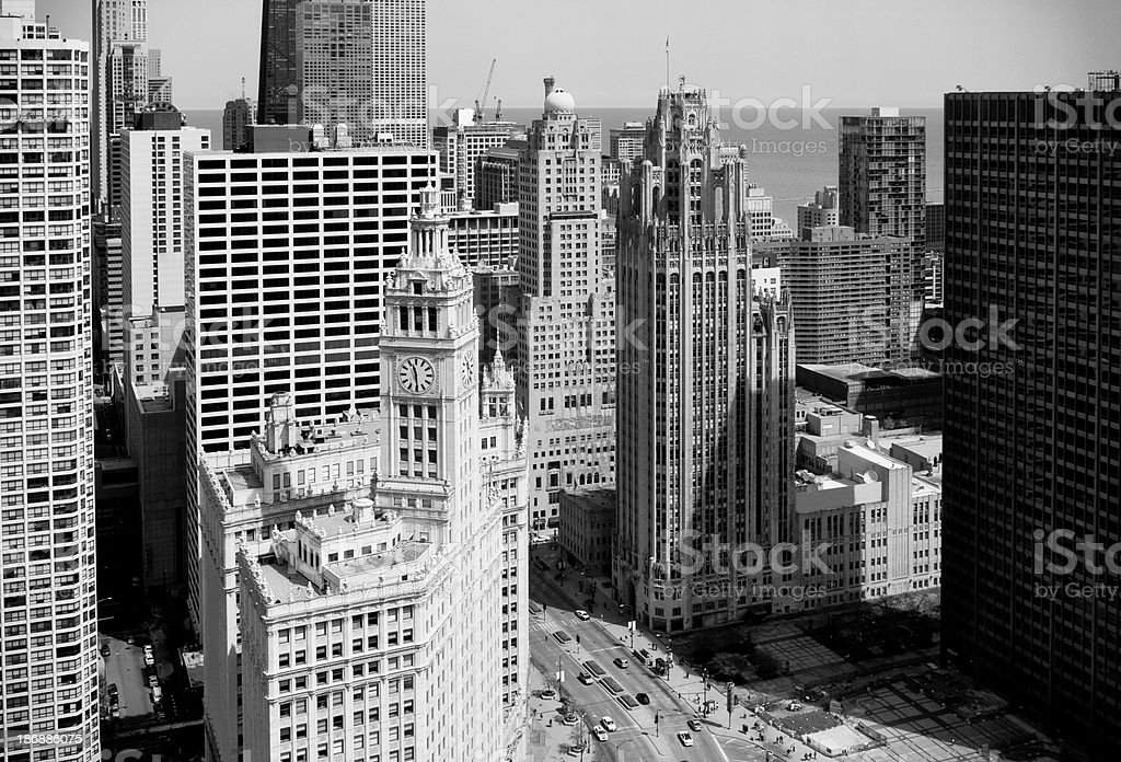 Aerial View of Michigan Avenue in Chicago stock photo