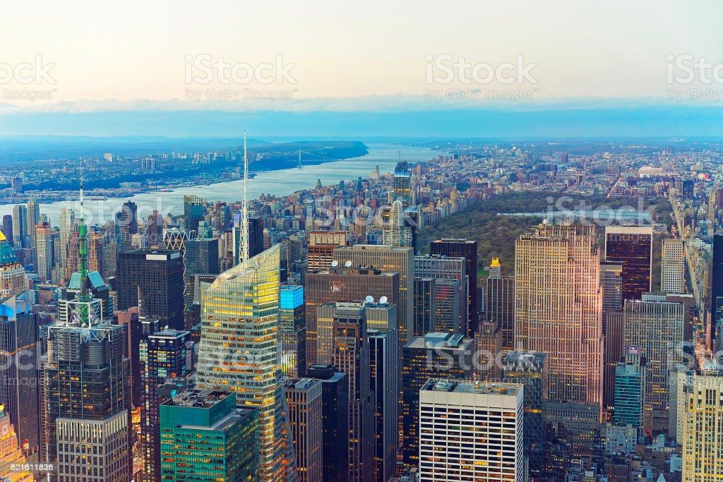 Aerial view of Midtown Manhattan and Central Park stock photo