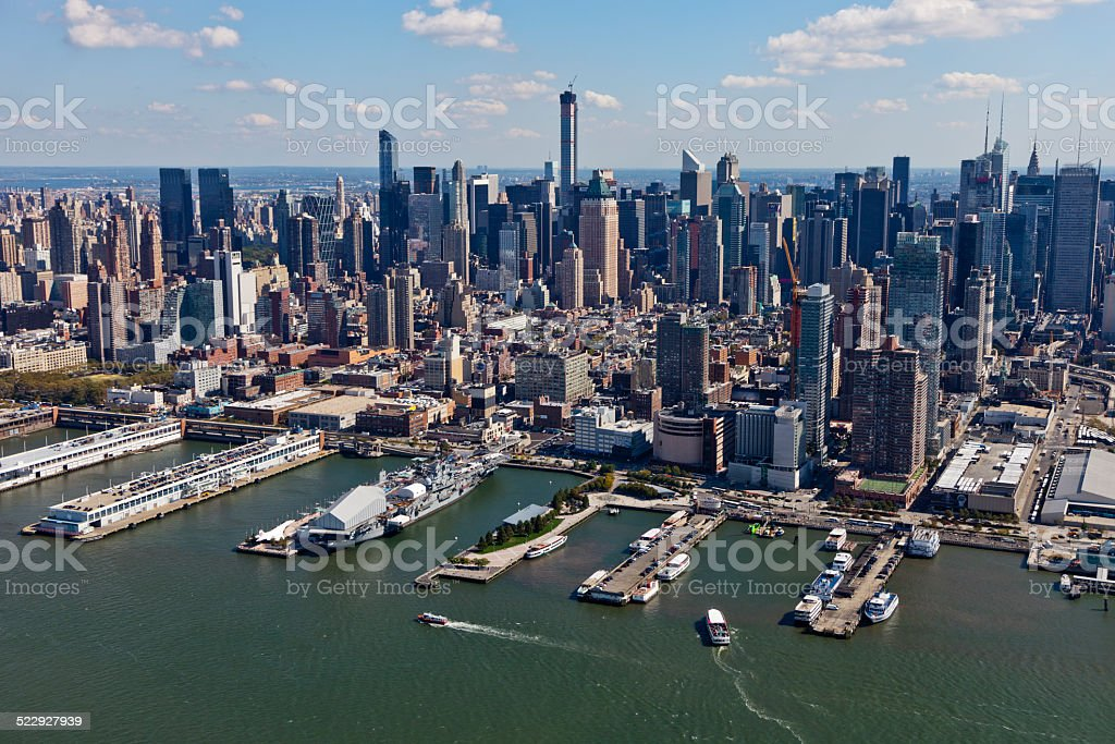 Aerial View of Midtown Manhattan from above the Hudson River stock photo