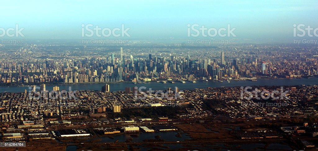 Aerial View of Mid-town Manhattan stock photo
