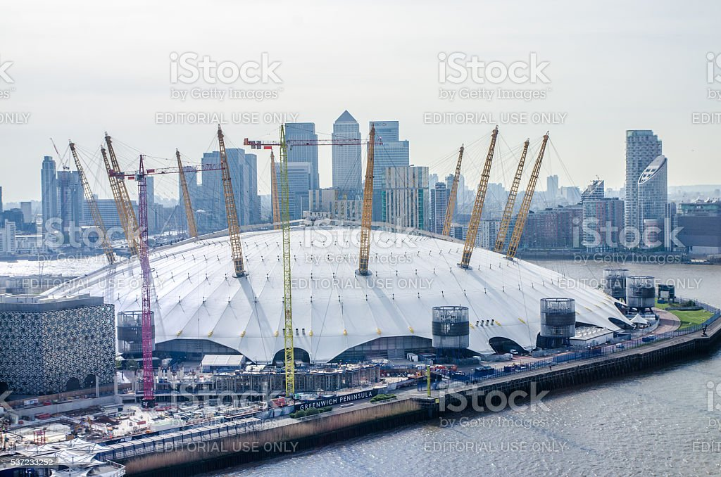 Aerial view of  Millenium Dome and London skyscrapers stock photo