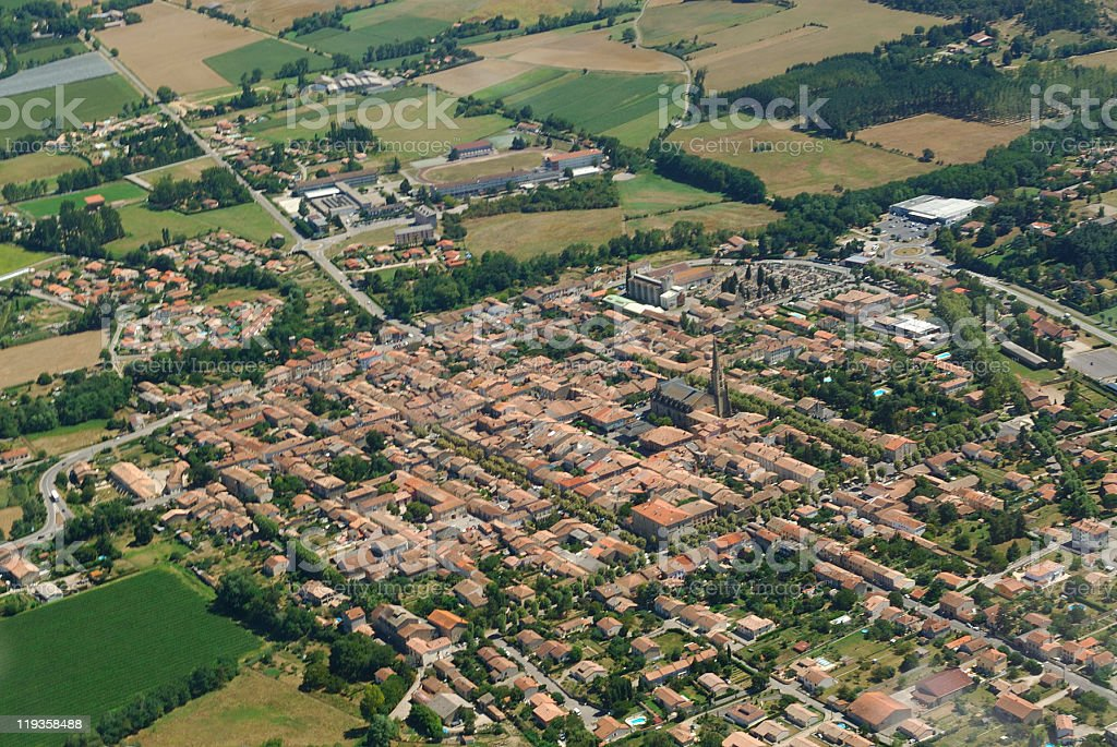Aerial view of Mirepoix town stock photo
