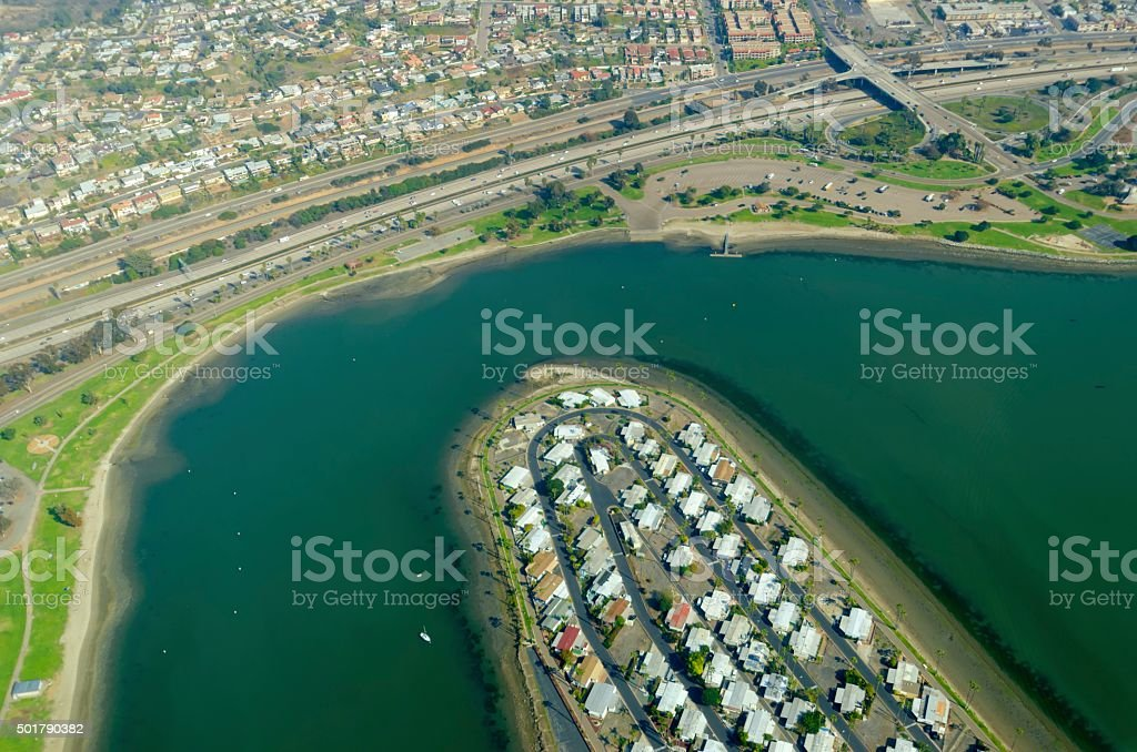 Aerial view of Mission Bay, San Diego stock photo