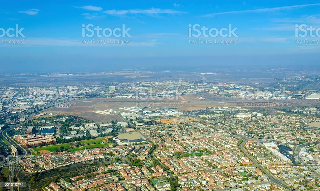 Aerial view of Mission Hills, San Diego stock photo