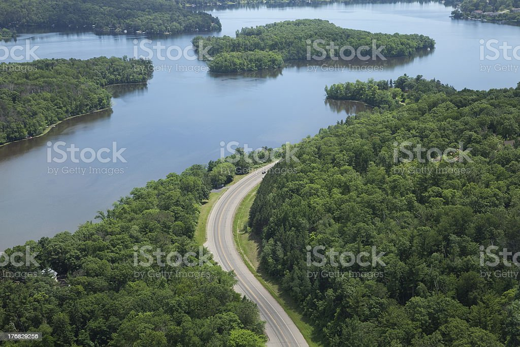 Aerial view of Mississippi River and curving road stock photo