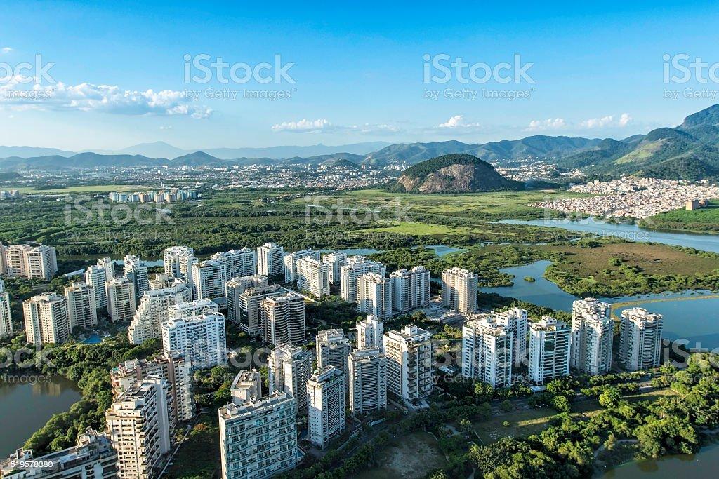 Aerial view of modern Brazilian city, Barra da Tijuca stock photo
