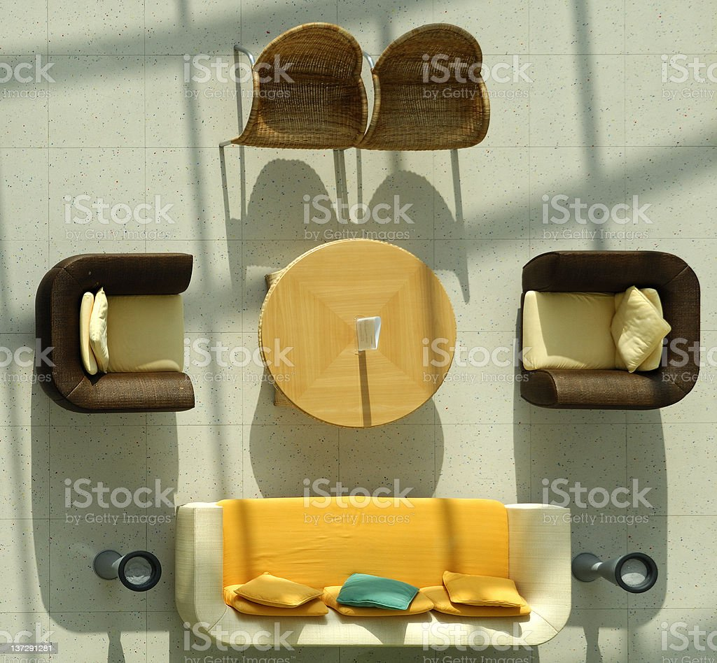 Aerial view of modern chairs arranged around a table royalty-free stock photo