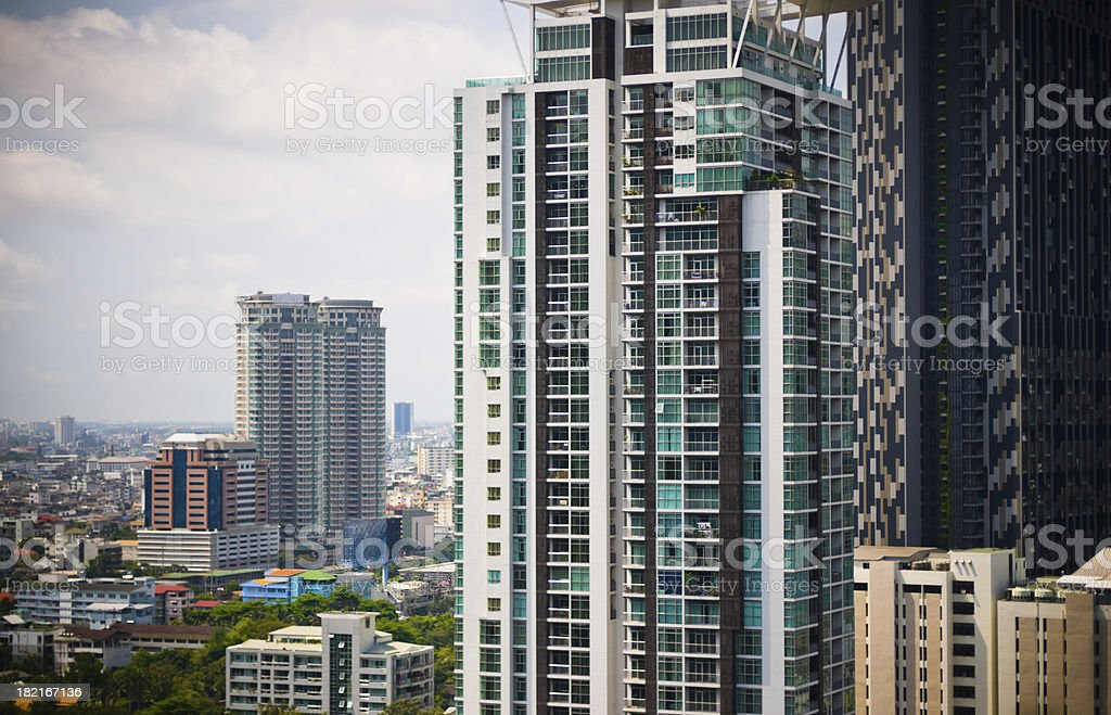 Aerial view of Modern Luxury building in city royalty-free stock photo