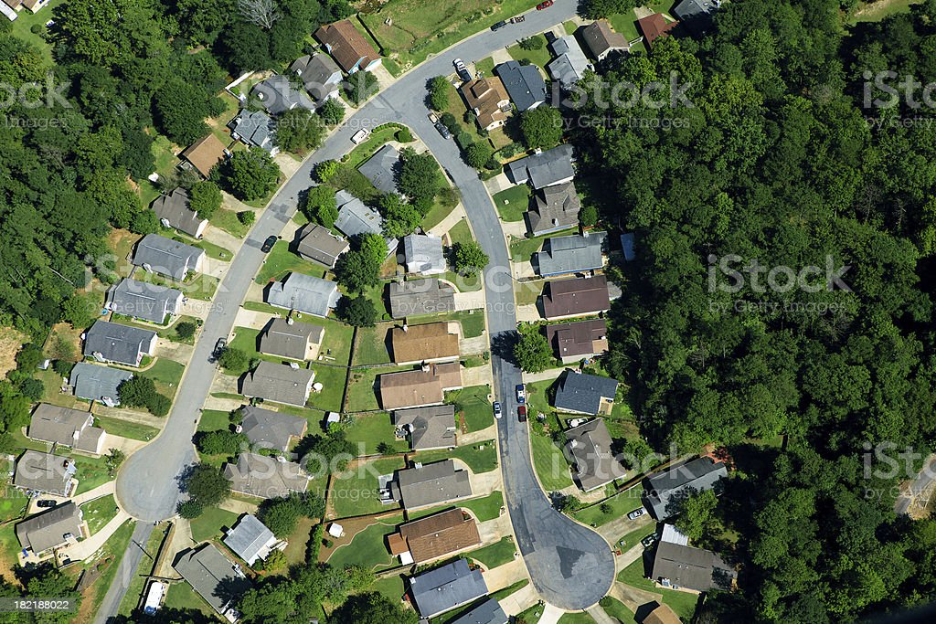 Aerial View of Modern Neighborhood royalty-free stock photo