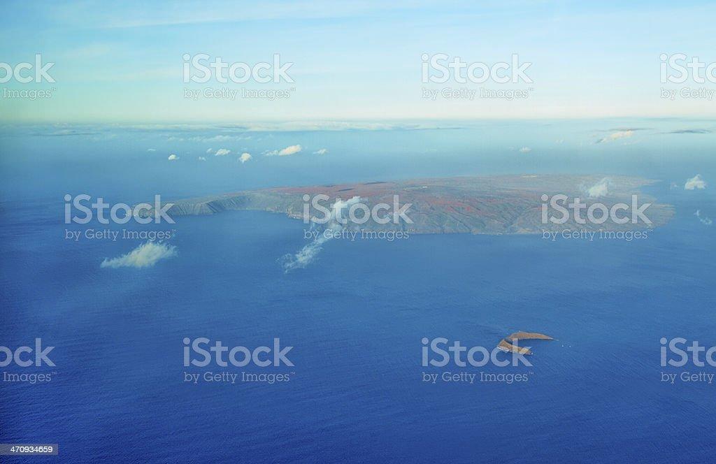 Aerial view of Molokini and Kahoolawe island stock photo