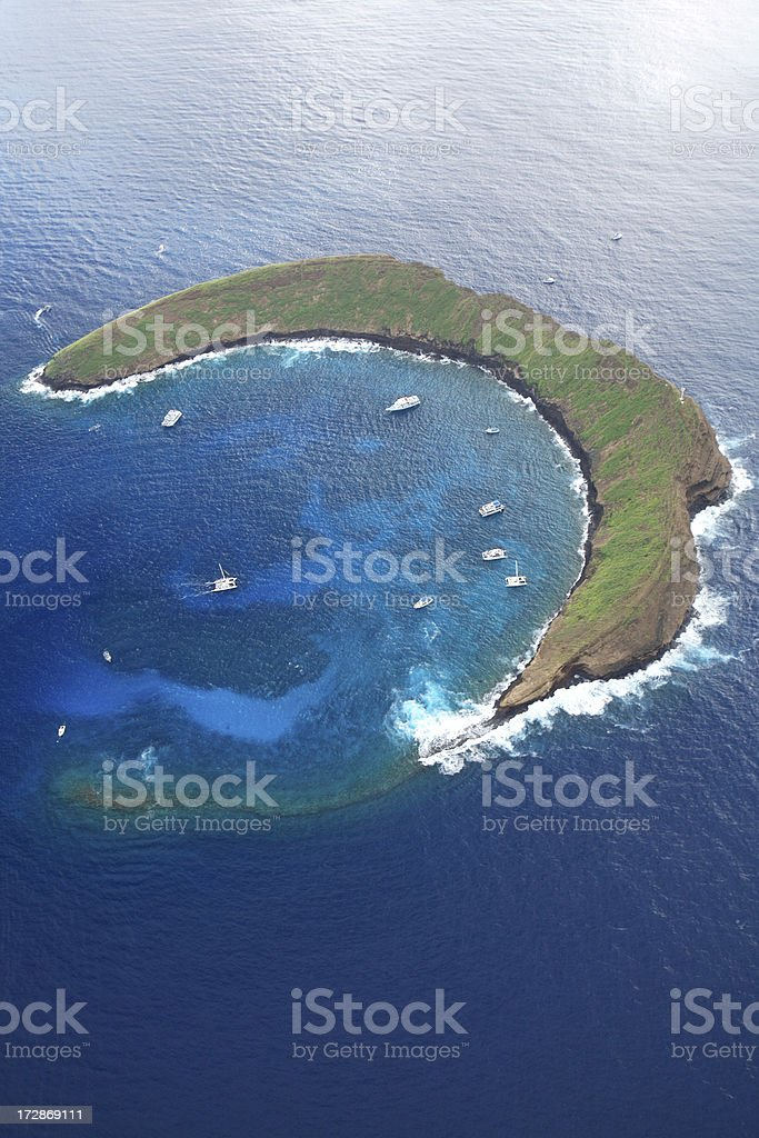 Aerial View of Molokini Crater stock photo