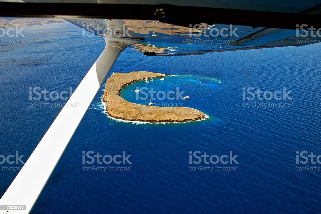 Aerial View of Molokini from Cessna 172 stock photo