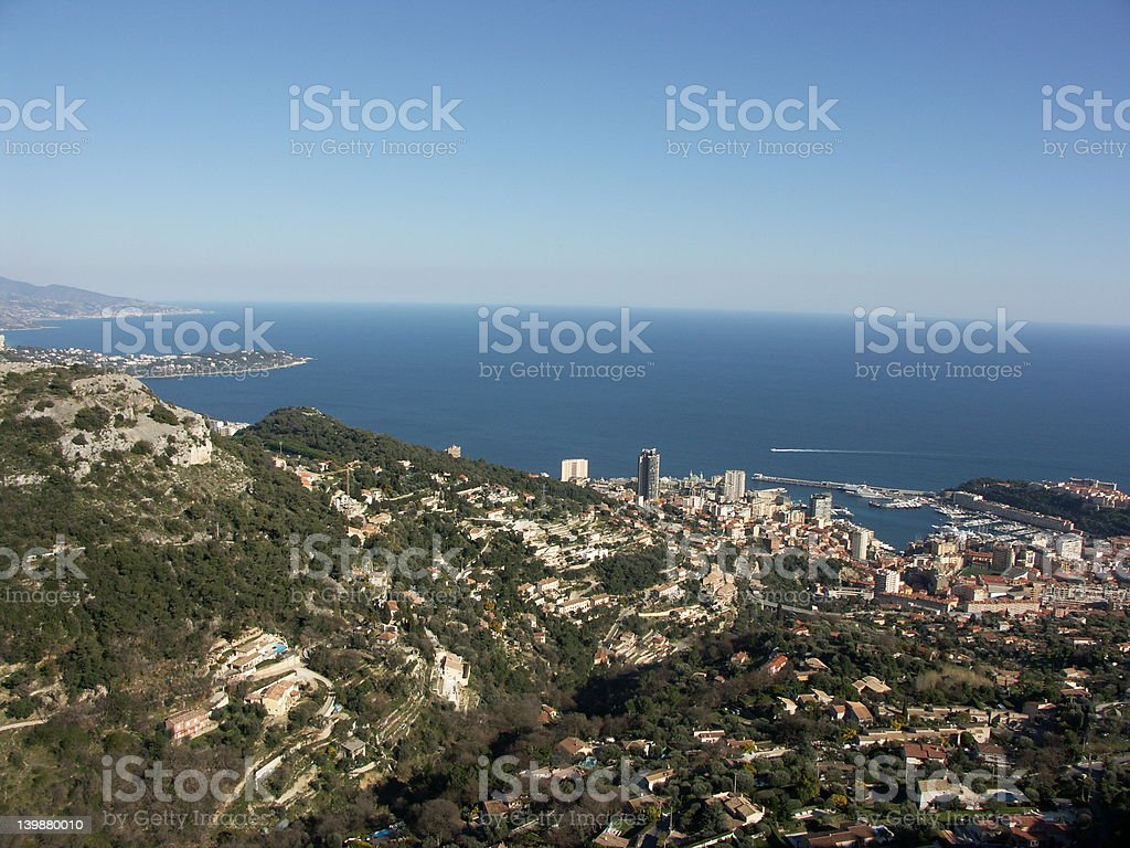 Aerial view of Monaco and Monte-Carlo royalty-free stock photo