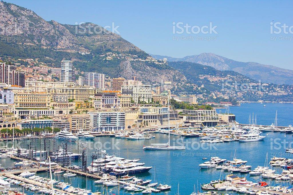 Aerial view of Monaco stock photo