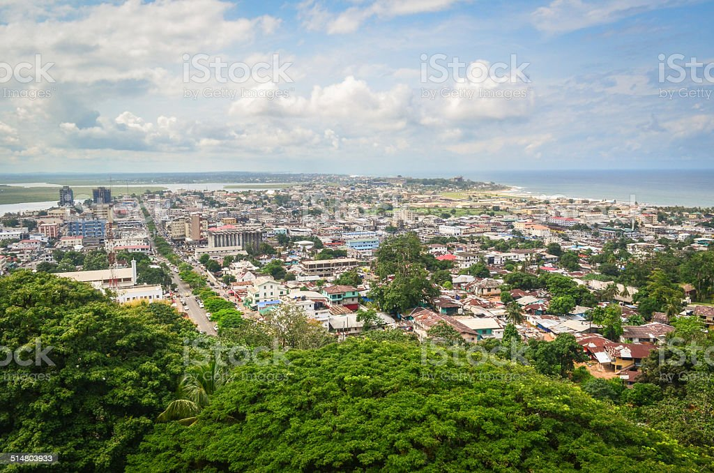 Aerial view of Monrovia, Liberia stock photo