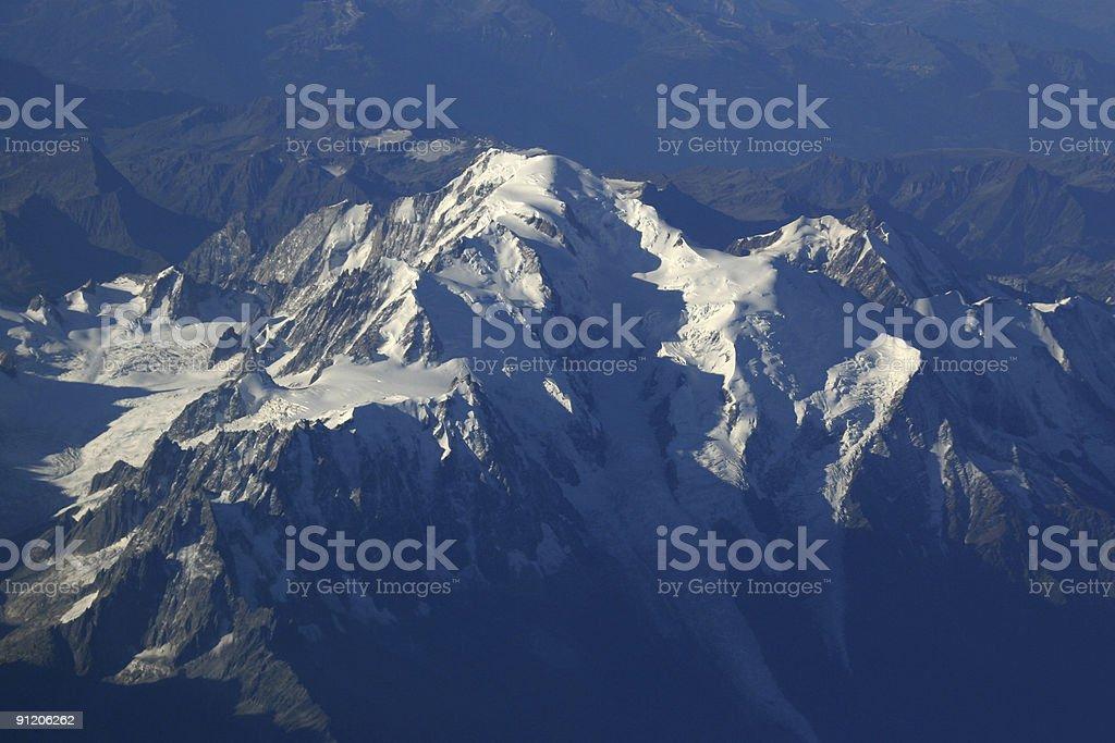 Aerial View of Monte Bianco - Italian Alps, Europe stock photo