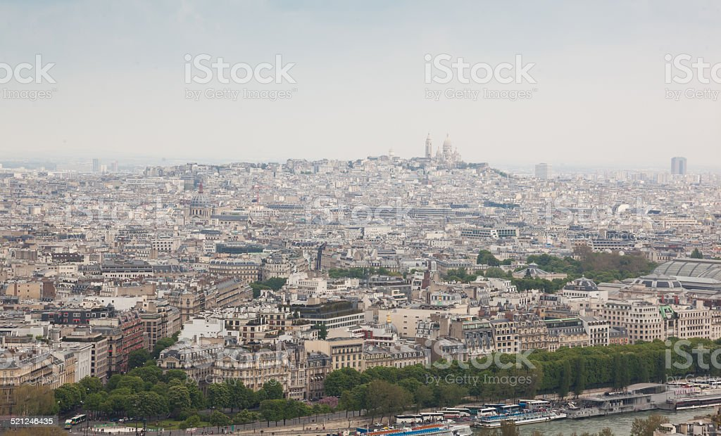 Aerial View of Montmartre Hill fron Eiffel tower stock photo
