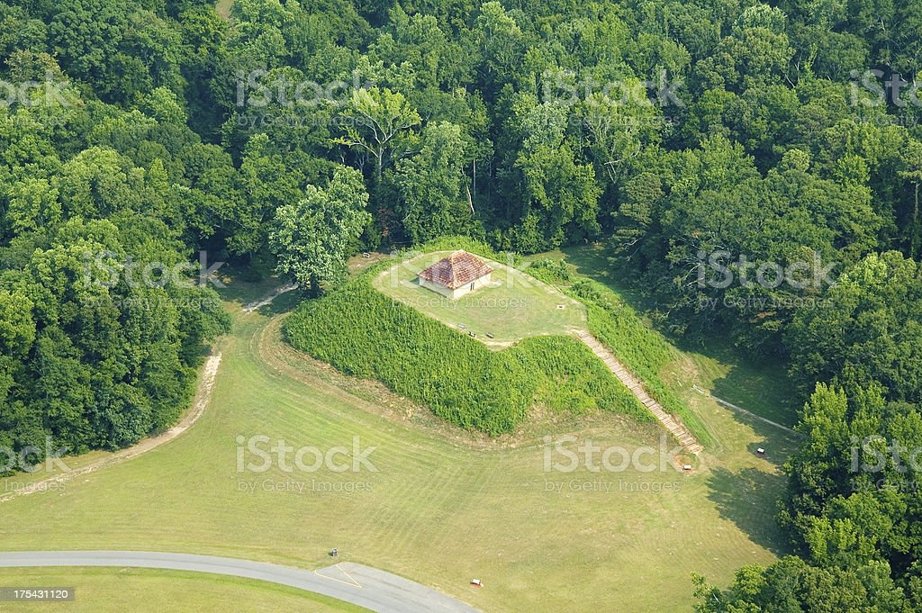 Aerial view of Moundville Park stock photo