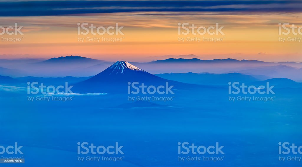Aerial view of Mount Fuji in the morning stock photo