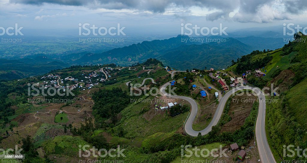aerial view of mountain road to tubberk peak petchabun stock photo