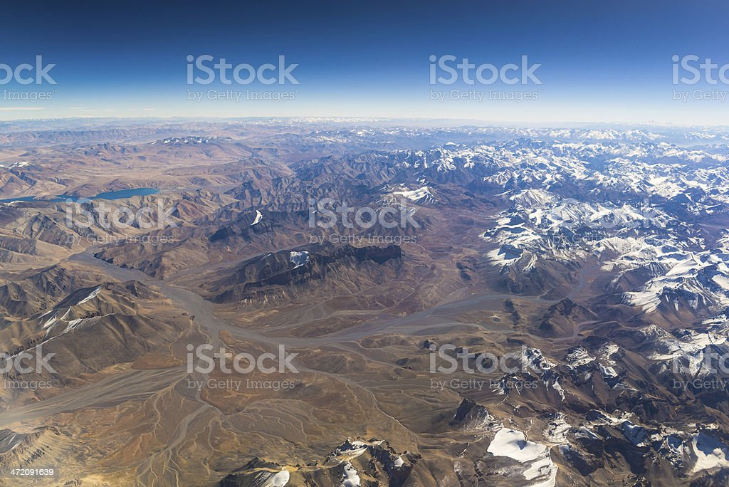 aerial view of mountains and clouds on top royalty-free stock photo