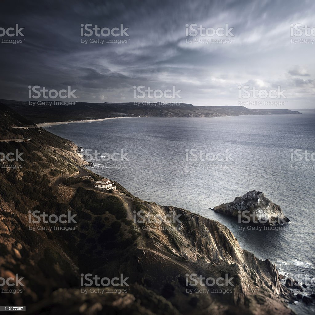 Aerial view of mountains and sea royalty-free stock photo