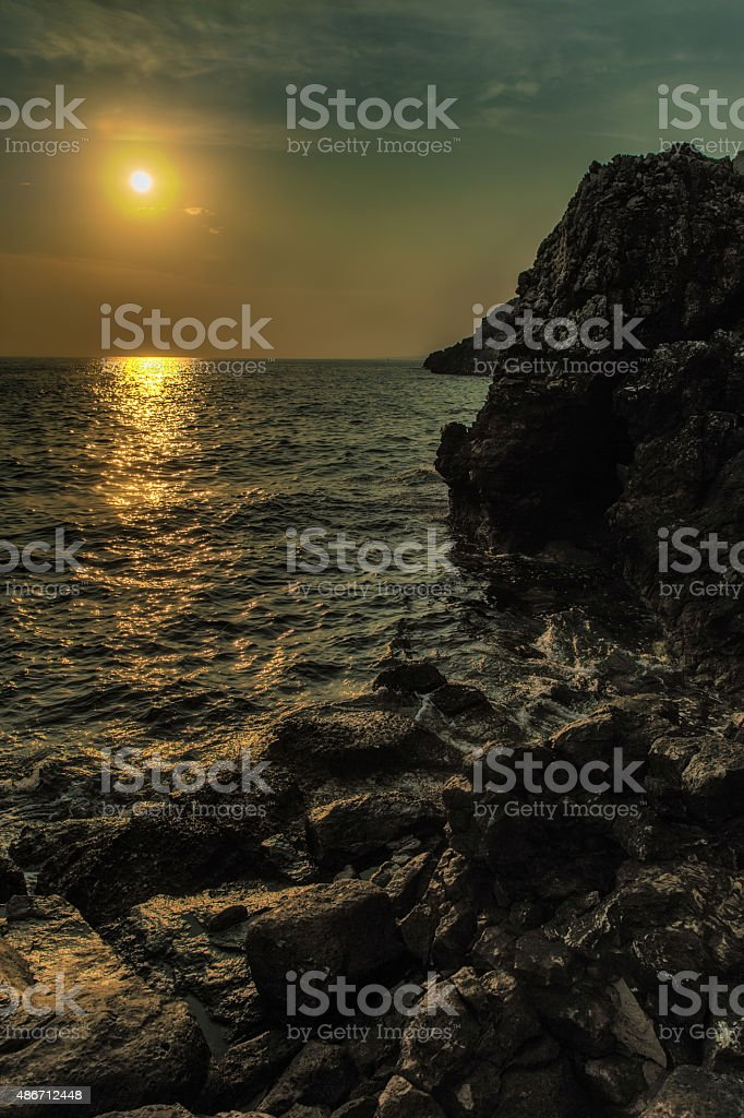 Aerial view of mountains and sea stock photo