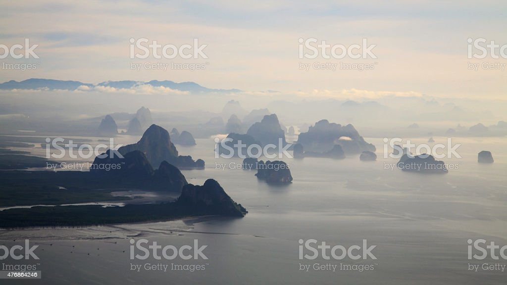 Aerial View of mountains' form and sea stock photo