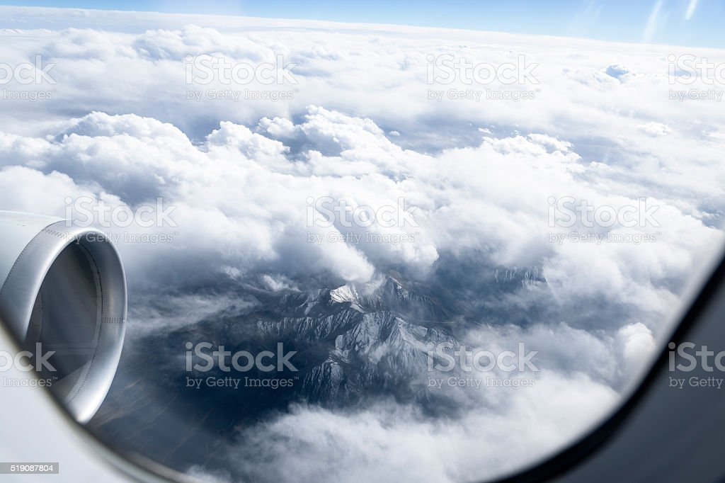 Aerial view of mountains stock photo