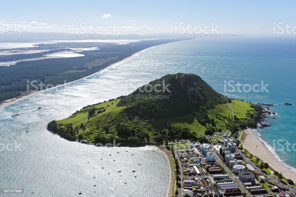 Aerial view of Mt Maunganui, North Island, New Zealand stock photo