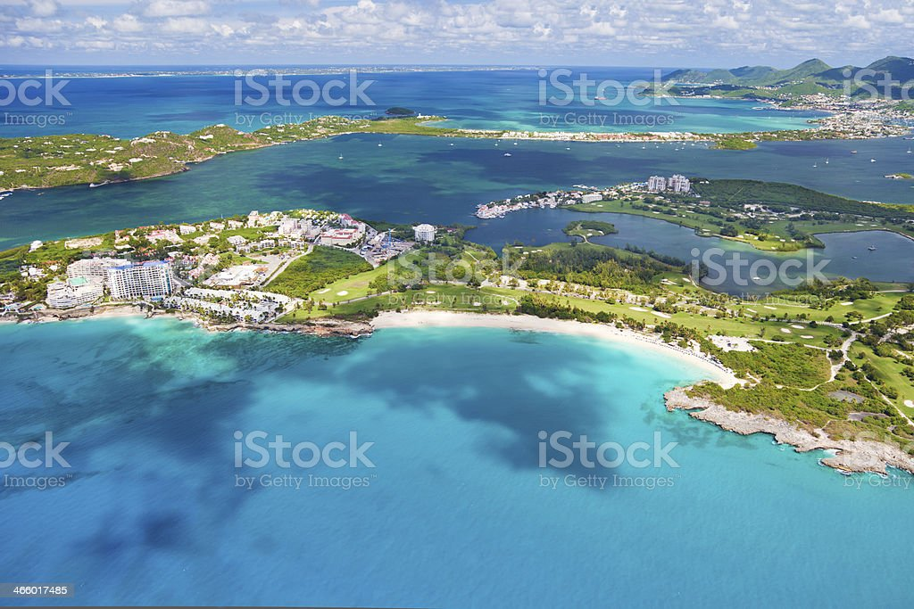 aerial view of Mullet and Cupecoy Bays, St.Maarten, the Caribbean stock photo