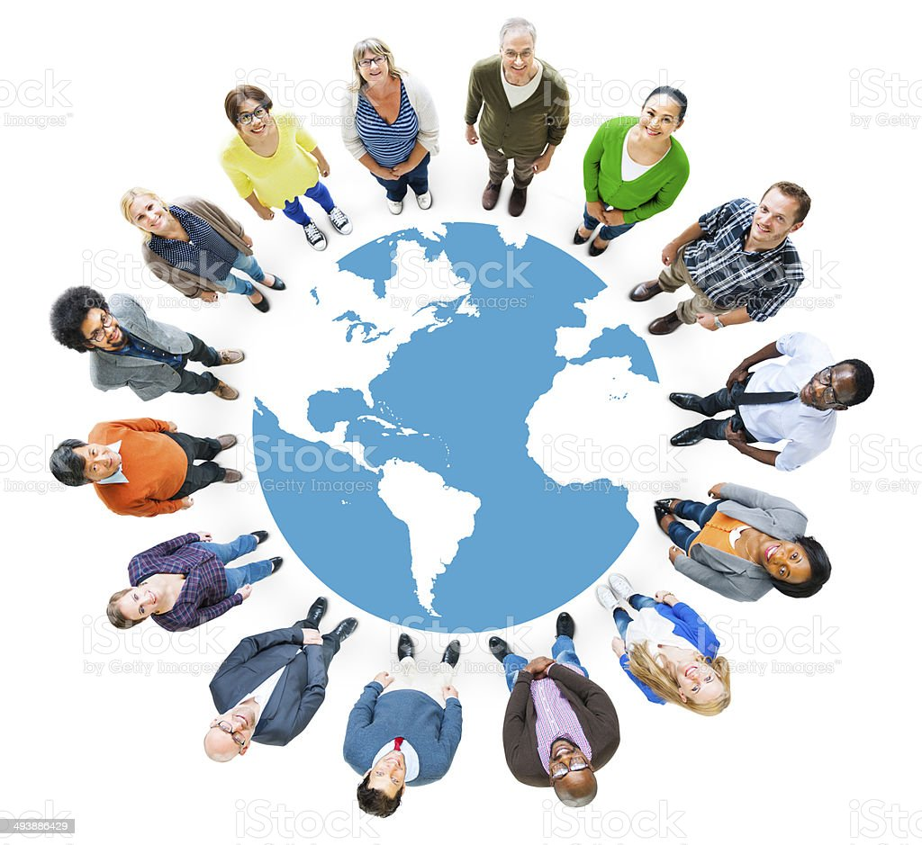 Aerial View of Multiethnic People Forming Circle and Globe stock photo