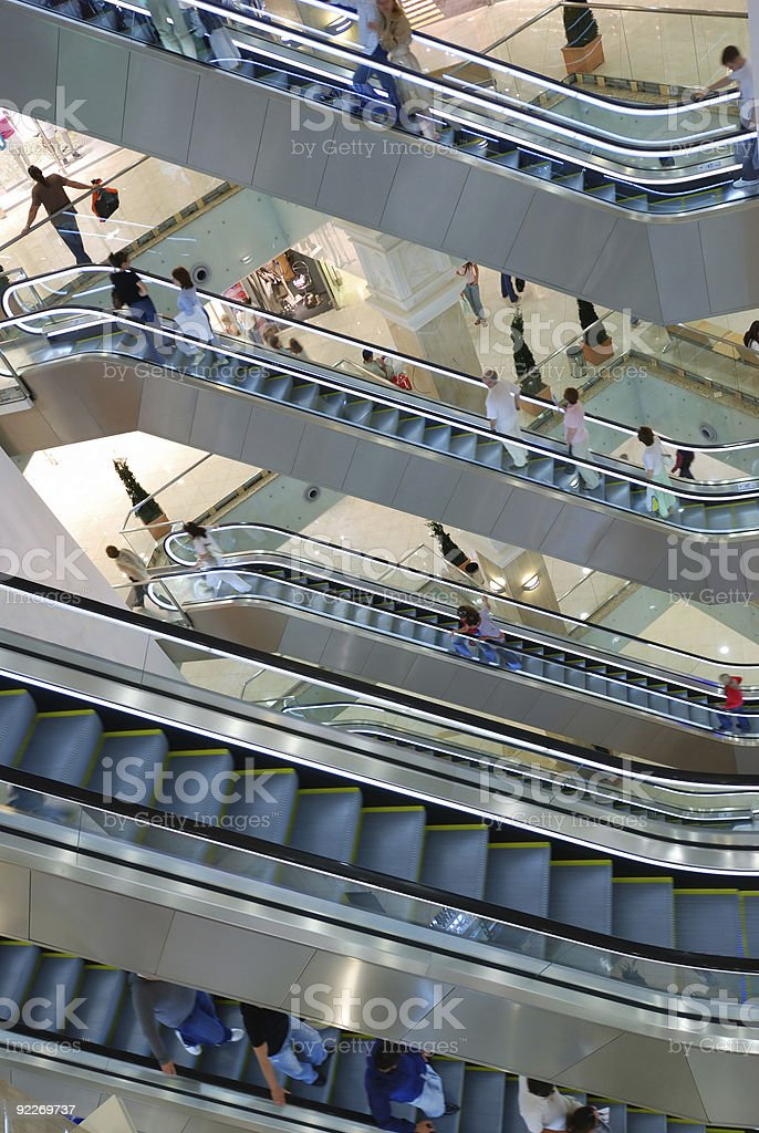 Aerial view of multiple escalators in a mall royalty-free stock photo
