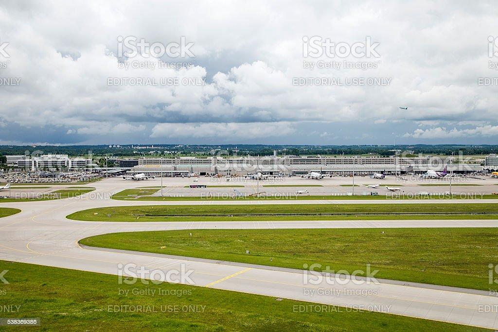 Aerial view of Munich International Airport stock photo