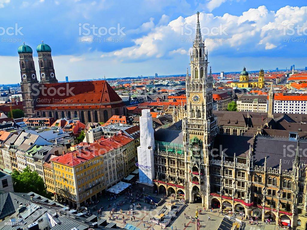Aerial View of Munich Marienplatz Bavaria, Germany stock photo
