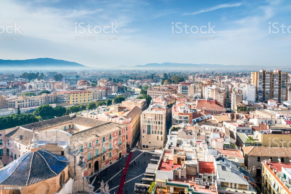 Aerial view of Murcia from Cathedral Church of Saint Mary, Spain. stock photo
