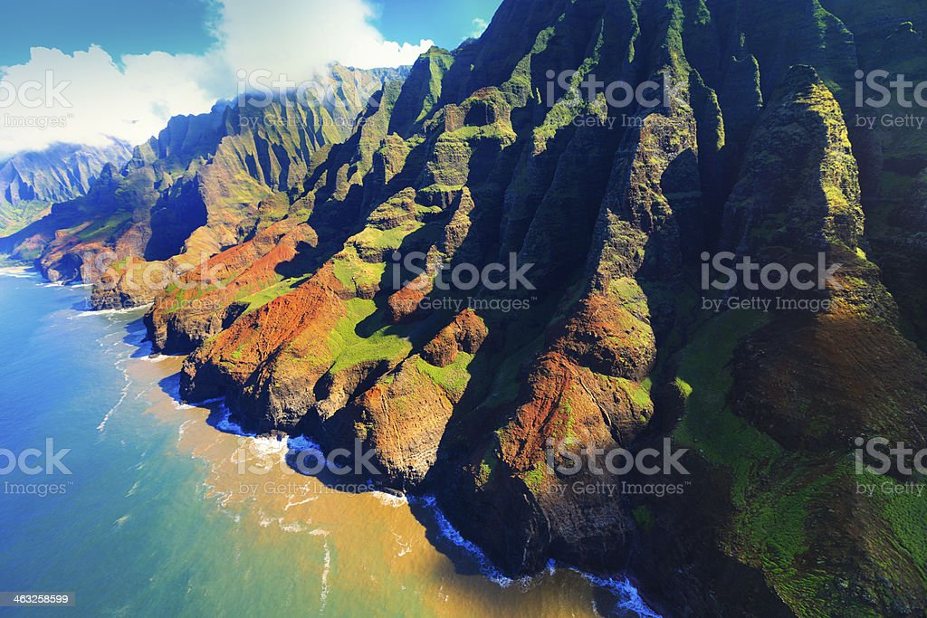 Aerial view of Na pali coast in Kauai, Hawaii royalty-free stock photo