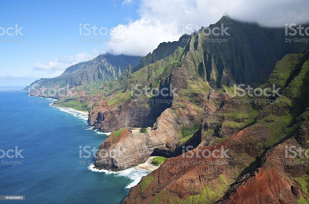 Aerial View of Na Pali Coast, Kauai, Hawaii stock photo