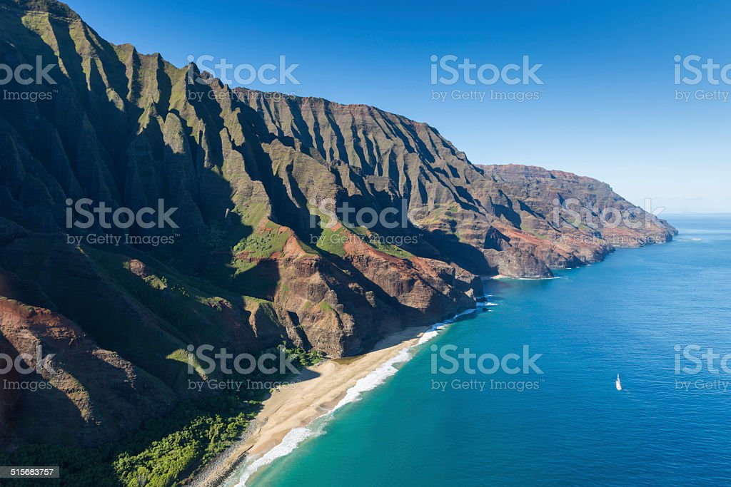Aerial View of Na Pali Coast stock photo