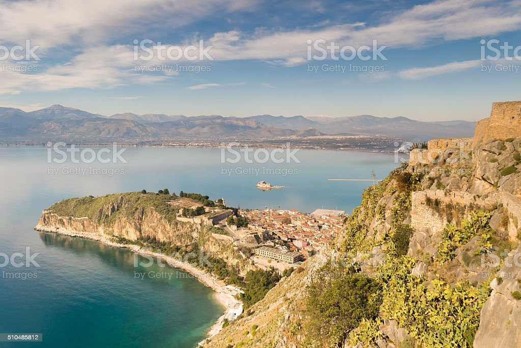 Aerial view of Nafplio old city in Greece. stock photo