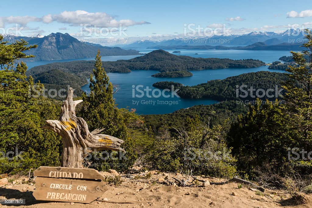 aerial view of Nahuel Huapi lake stock photo