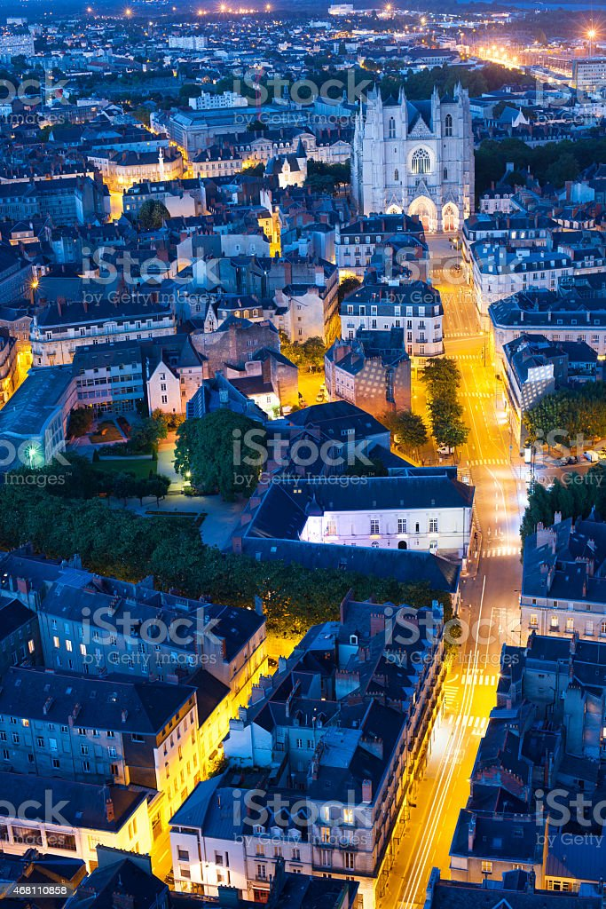Aerial view of Nantes city at night stock photo