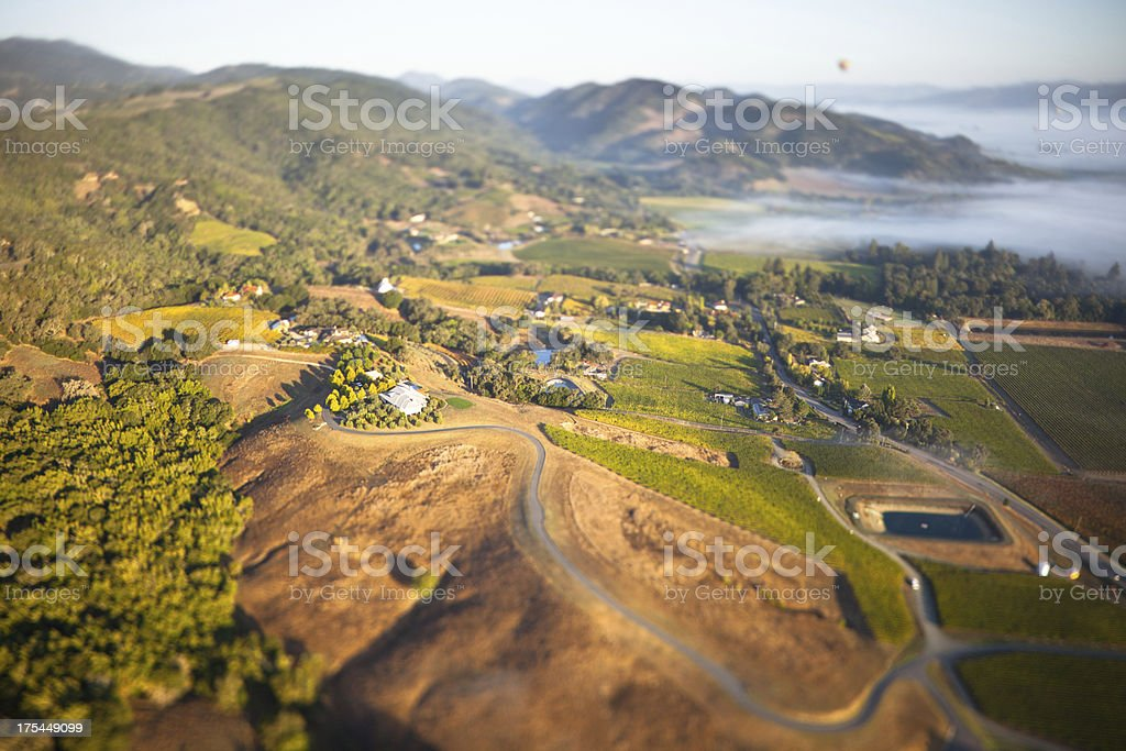 Aerial view of Napa valley and vineyards stock photo