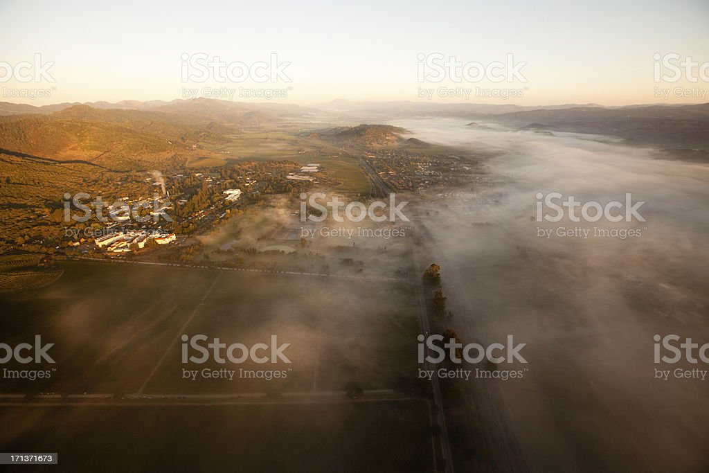 Aerial view of Napa Valley, California at sunrise royalty-free stock photo